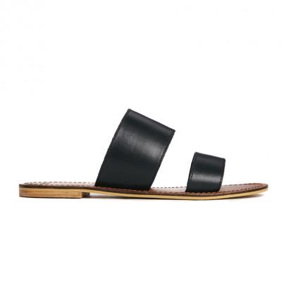 Sandales plates cuir