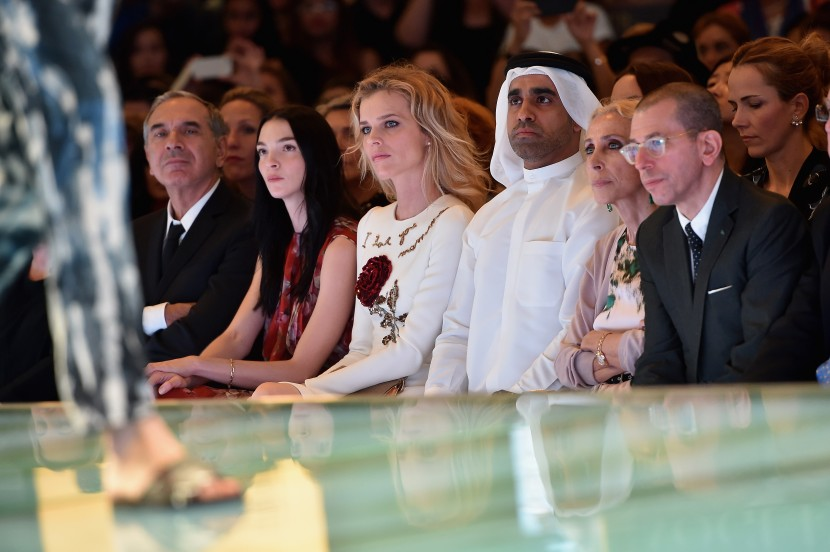 DUBAI, UNITED ARAB EMIRATES - OCTOBER 29:  (L-R) President of Camera Moda and CEO of Costume National Carlo Capasa, Mariacarla Boscono, Eva Herzigova, Nasser Rafi, Editor-in Chief of Vogue Italia Franca Sozzani, and Chief Executive Officer and Chairman of Conde Nast International Jonathan Newhouse, attend the Talents Fashion show during the Vogue Fashion Dubai Experience 2015 at The Dubai Mall on October 29, 2015 in Dubai, United Arab Emirates. (Photo by Jacopo Raule/Getty Images for Vogue and The Dubai Mall) *** Local Caption *** Carlo Capasa;Mariacarla Boscono;Eva Herzigova;Nasser Rafi;Franca Sozzani;Jonathan Newhouse