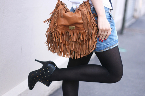 sac zara cuir franges